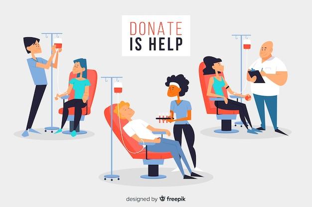 Ensemble de personnes qui donnent du sang Vecteur gratuit