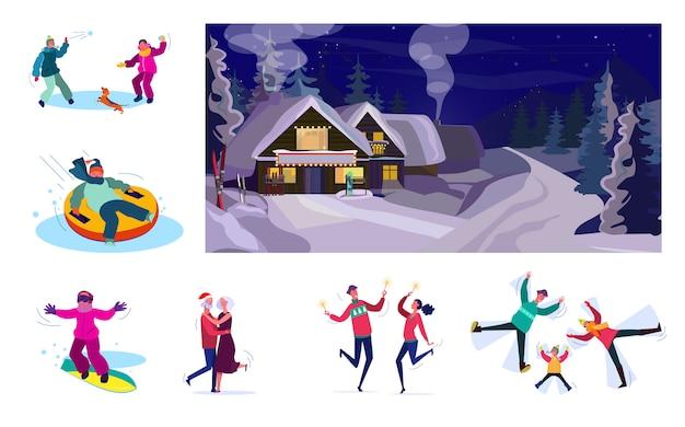 Ensemble De Personnes Se Détendre Pendant Les Vacances D'hiver Vecteur gratuit