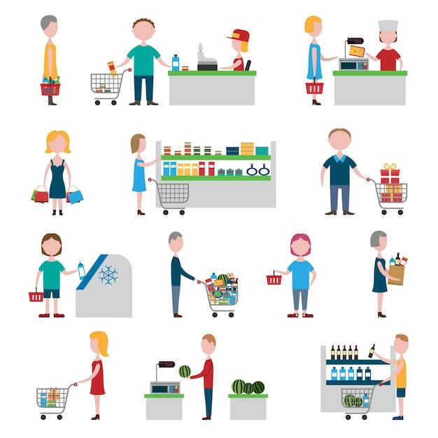Ensemble de personnes de supermarché Vecteur gratuit