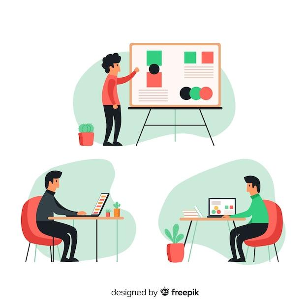 Ensemble de personnes travaillant à leur bureau illustré Vecteur gratuit