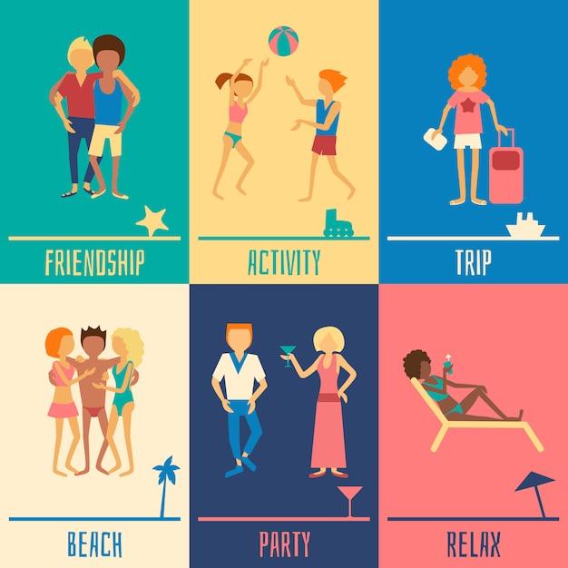 Ensemble De Personnes De Vacances Vecteur gratuit