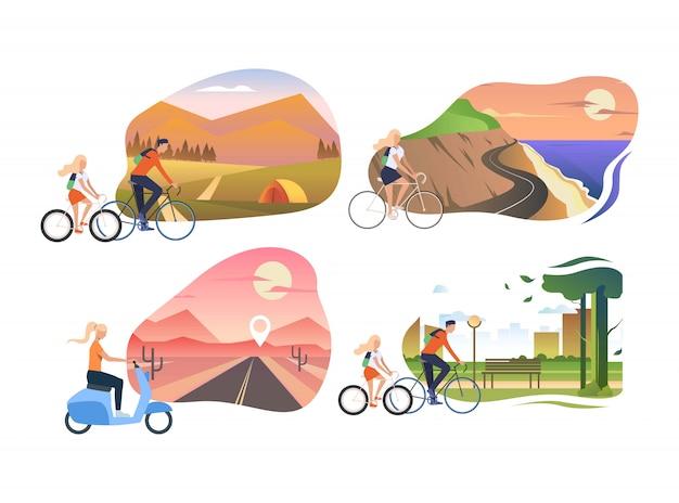Ensemble De Personnes à Vélo Vecteur gratuit