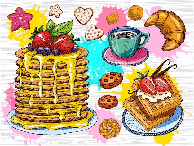 Ensemble De Petit-déjeuner Sucré Coloré. Crêpes, Crêpes, Gaufre, Tasse De Café, Biscuits, Fraise, Chocolat, Desserts, Bâtonnets De Vanille, Croissant. Style De Croquis, éclaboussure De Couleur. Dessiné à La Main Vecteur Premium