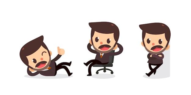 Ensemble De Petit Homme D'affaires En Action Vecteur Premium