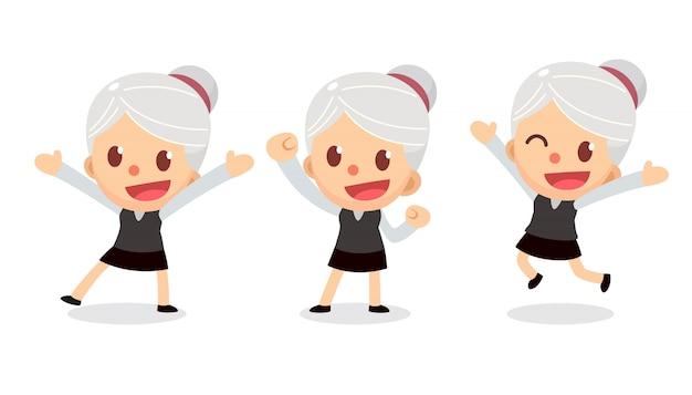 Ensemble de petit personnage de femme d'affaires en actions. une femme aux cheveux gris. heureux et heureux Vecteur Premium