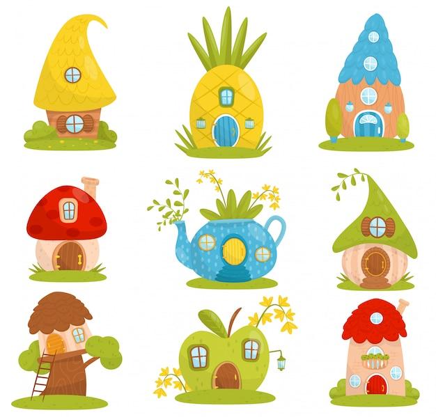 Ensemble De Petites Maisons Mignonnes, Maison Fantastique De Conte De Fées Pour Gnome, Nain Ou Elfe Illustrations Sur Fond Blanc Vecteur Premium