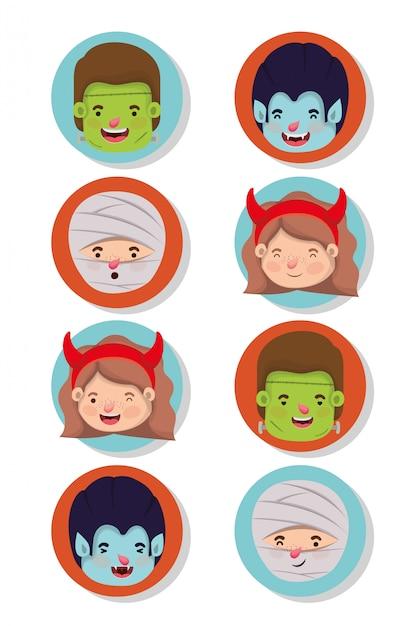 Ensemble De Petits Enfants Avec Des Personnages De Costumes Vecteur Premium