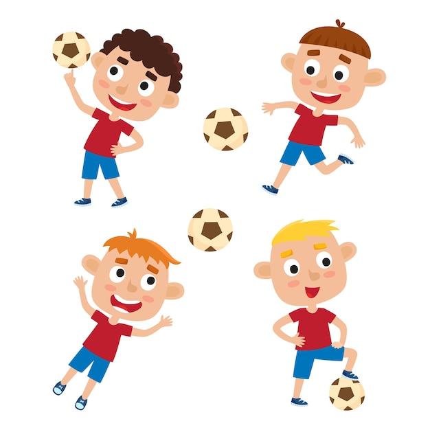 Ensemble De Petits Garçons En Chemise Et Court Jouant Au Football, Enfants De Dessin Animé Mignon Botter Le Ballon De Football Sur Blanc. Vecteur Premium