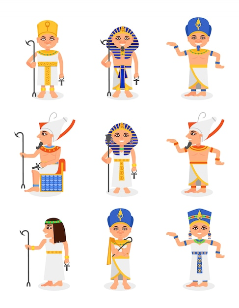 Ensemble De Pharaons Et Reines égyptiennes De Dessin Animé. Dirigeants De L'égypte Ancienne. Vêtements Traditionnels Et Coiffures De Personnages Hommes Et Femmes Vecteur Premium