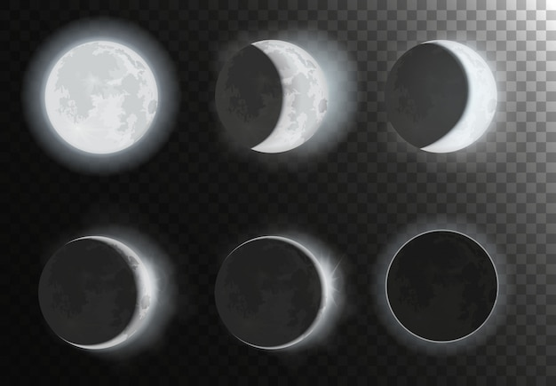 Ensemble De Phases De Lune Vecteur Premium