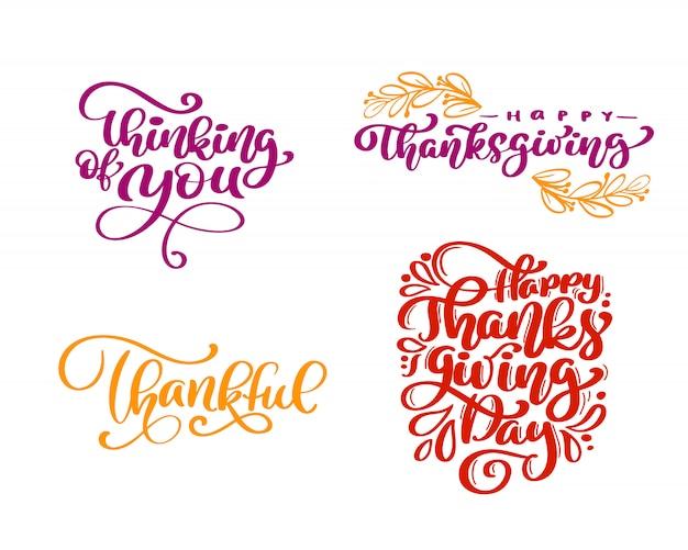 Ensemble de phrases de calligraphie happy thanksgiving day Vecteur Premium