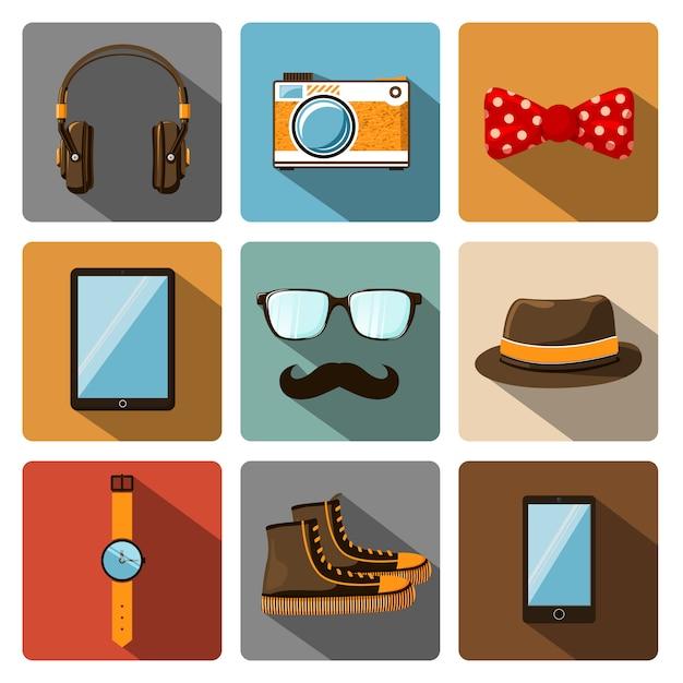 Ensemble de pictogrammes accessoires hipster Vecteur Premium