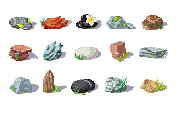Ensemble De Pierres Colorées De Dessin Animé De Différentes Formes Et Matériaux Avec Des Plantes Et Des Feuilles Isolées Vecteur gratuit