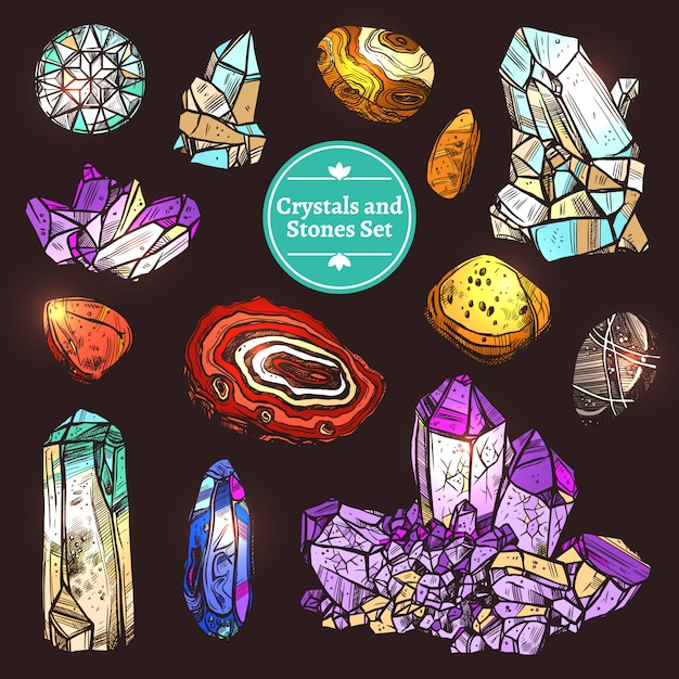 Ensemble de pierres de cristaux Vecteur Premium