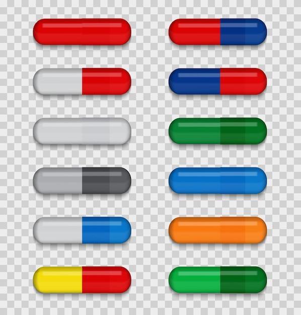 Ensemble De Pilule Médicale Pleine De Couleur Sur Un Fond Transparent. Vecteur Premium