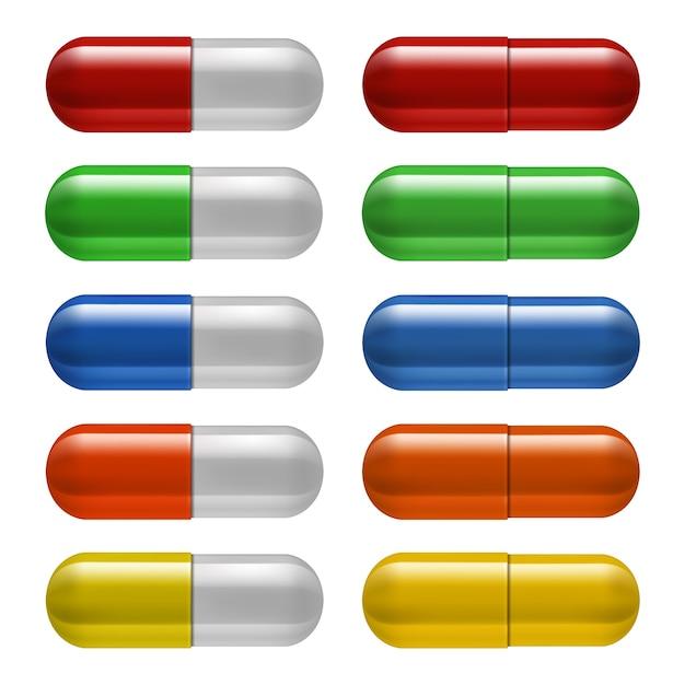 Ensemble De Pilules Médicales, Différentes Couleurs. Illustration Vecteur Premium