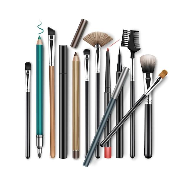 Ensemble De Pinceaux à Sourcils Fard à Paupières En Poudre Correcteur De Maquillage Professionnel Vecteur Premium