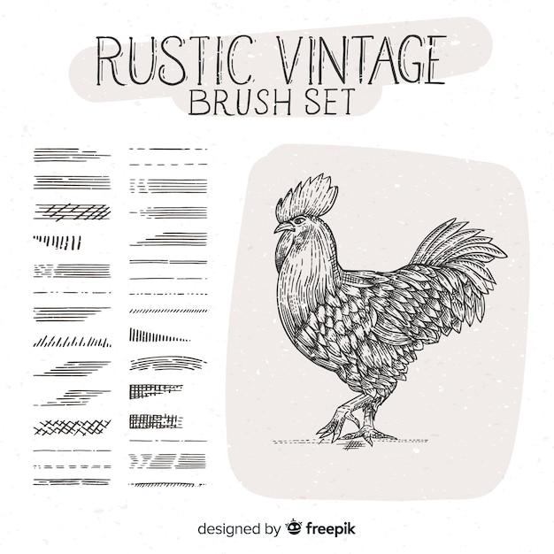 Ensemble de pinceaux vintage rustique Vecteur gratuit