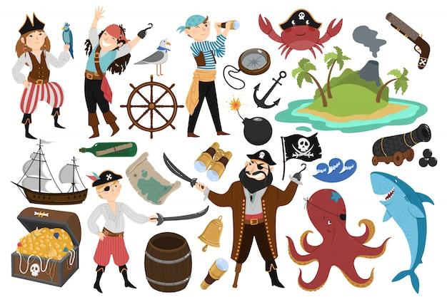 Ensemble de pirates Vecteur Premium