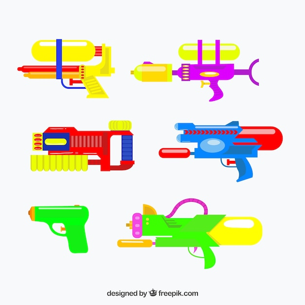 Ensemble de pistolets à eau colorés avec matière plastique Vecteur gratuit