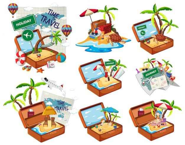 Ensemble de plage dans les bagages de voyage Vecteur gratuit