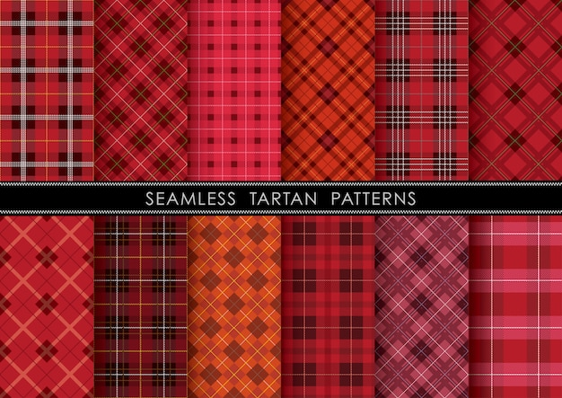 Ensemble de plaid sans couture tartan, reproductible horizontalement et verticalement. Vecteur Premium