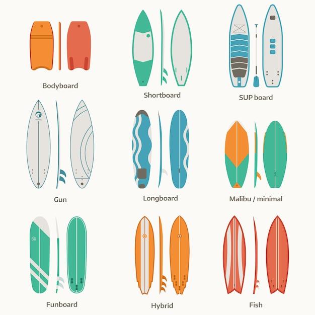 Ensemble De Planche De Surf Différent. Collection De Bureaux Et Planches De Surf. Vecteur Premium