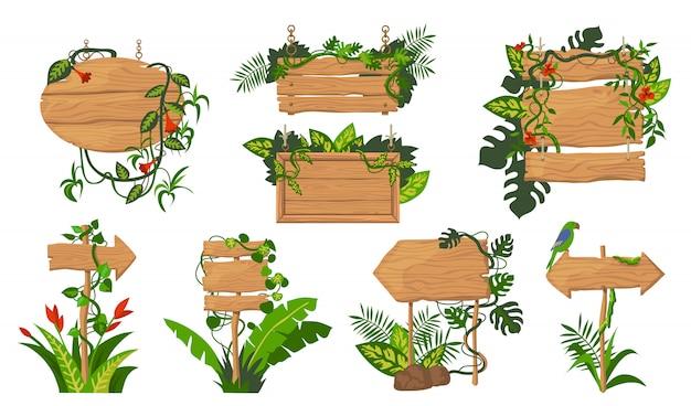 Ensemble De Planches En Bois Jungle Vecteur gratuit