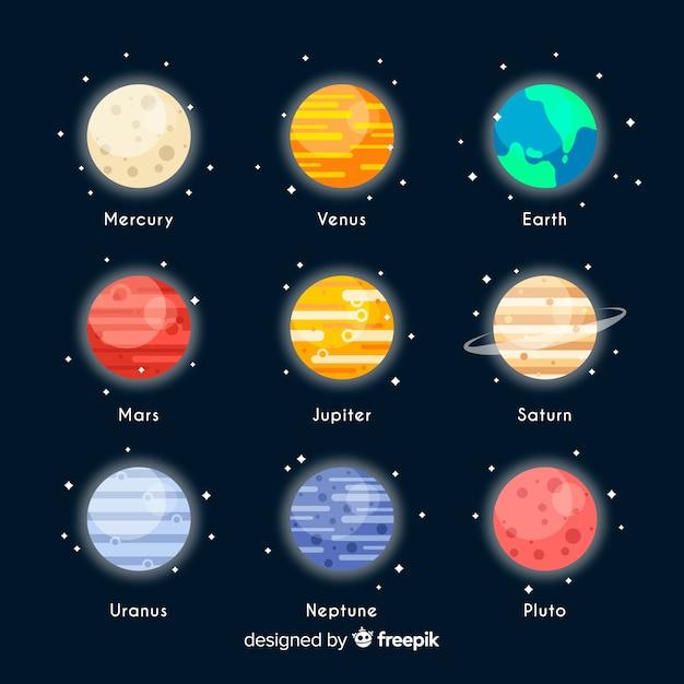 Ensemble De Planètes Colorées De La Voie Lactée Vecteur gratuit