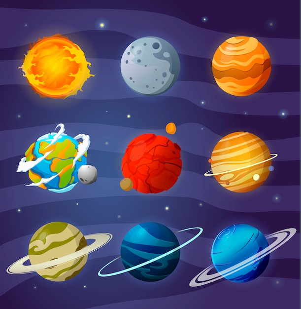 Ensemble De Planètes De Dessin Animé Vecteur Premium