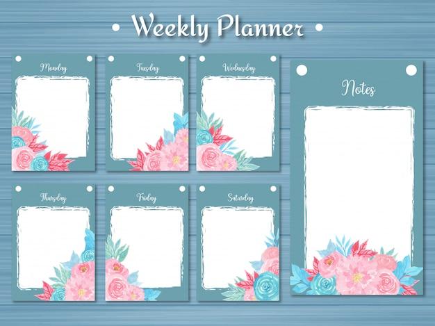 Ensemble de planificateur hebdomadaire avec des fleurs colorées et abstrait bleu Vecteur Premium
