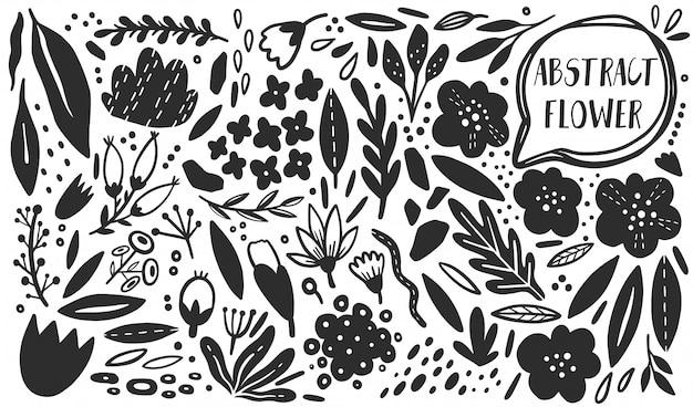 Ensemble de plantes fleur vectorielles. style dessiné à la main de silhouette. Vecteur Premium