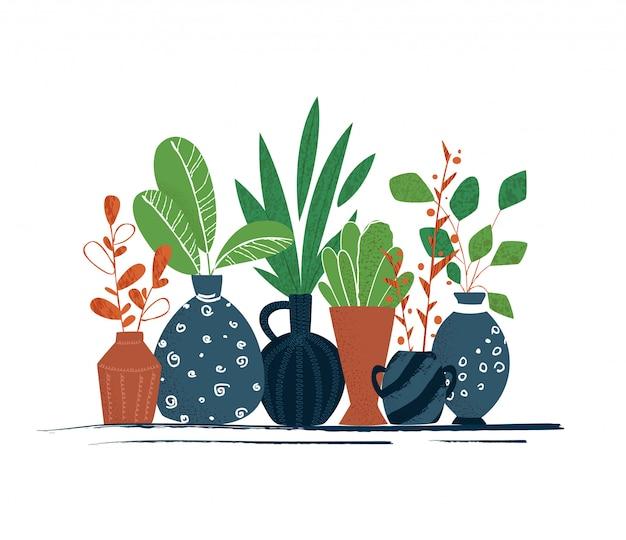 Ensemble De Plantes En Pot De Jardin Intérieur Ou Fleurs Maison - éléments Isolés Sur Fond Blanc Vecteur Premium