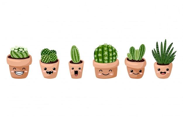 Ensemble de plantes succulentes kawaii emoticon emoji en pot hygge. collection de plantes de style scandinave confortable lagom Vecteur Premium