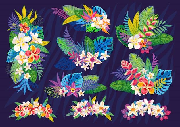 Ensemble De Plantes Tropicales Abstraites, Fleurs, Feuilles. éléments De Design. Jungle Florale Colorée De La Faune. Fond D'art Forêt Tropicale. Illustration Vecteur Premium