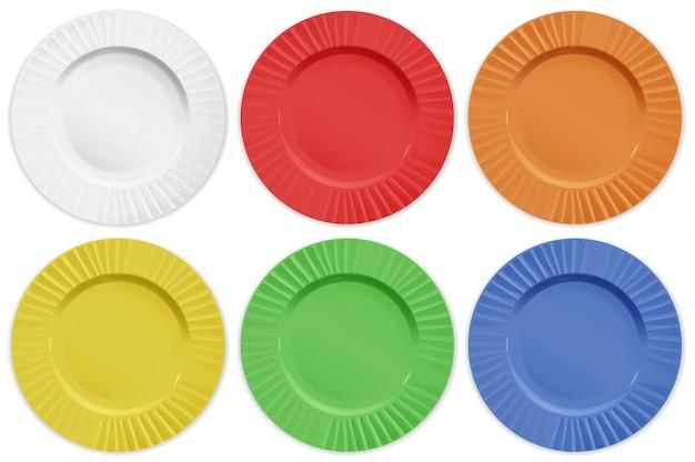 Ensemble de plaques de couleurs différentes Vecteur Premium