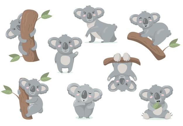 Ensemble Plat Adorable Bébé Koala. Illustration De Bande Dessinée Vecteur gratuit