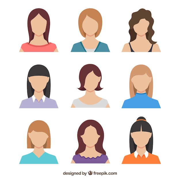 Ensemble plat d'avatars féminins Vecteur gratuit