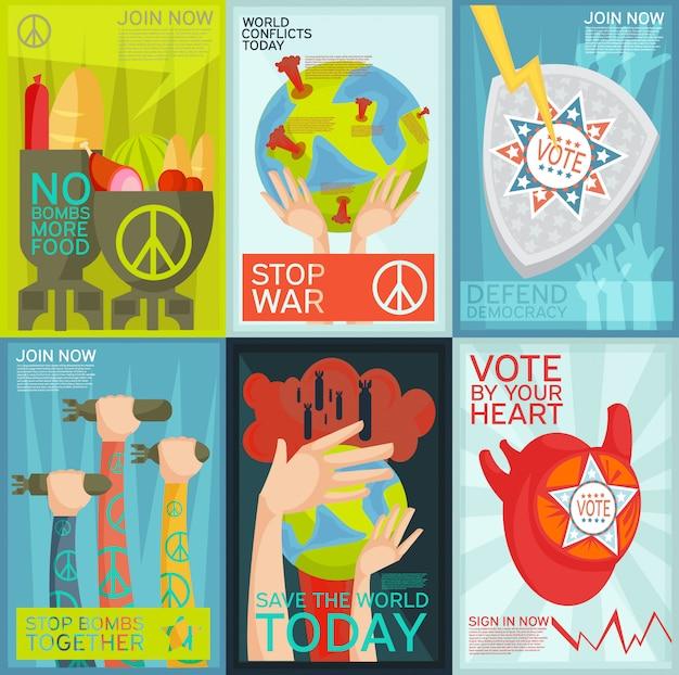 Ensemble plat coloré d'affiches de propagande sociale et politique Vecteur gratuit