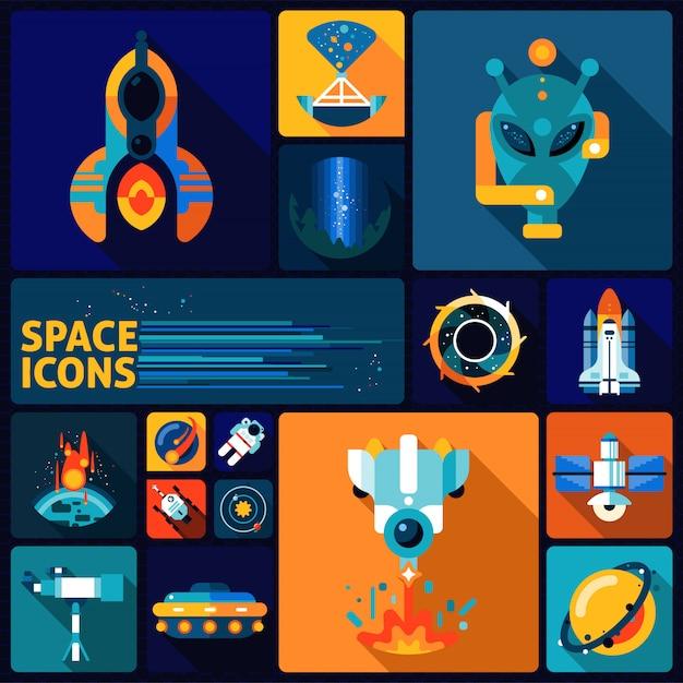 Ensemble plat d'éléments spatiaux Vecteur Premium