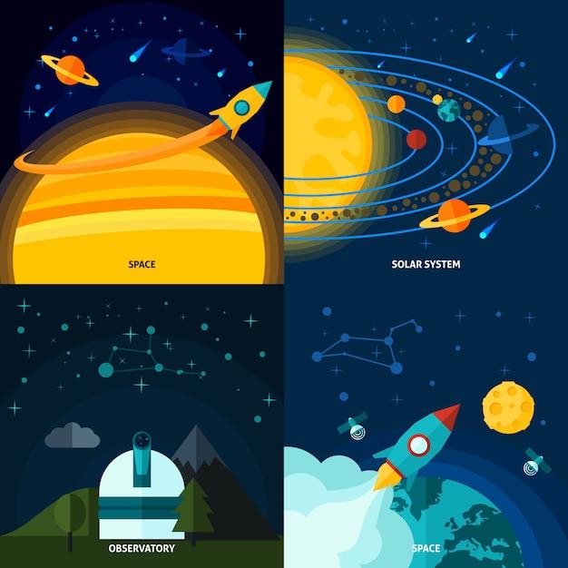 Ensemble plat espace et univers Vecteur gratuit
