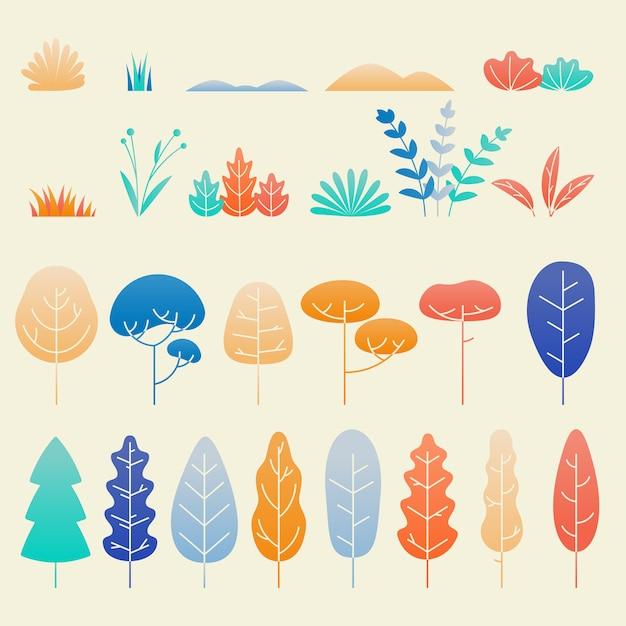 Ensemble Plat De Feuilles Et Plantes D'automne Vecteur Premium