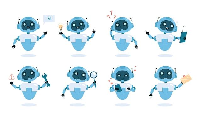 Ensemble Plat De Fonctions Et Capacités De Chatbot. Robot Mignon Avec Instruments, Machine Intelligente Dans Différentes Poses Composition Colorée. Vecteur Premium