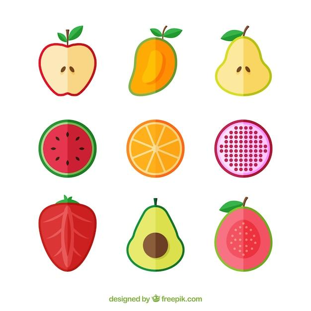 Ensemble Plat De Fruits Coupés En Deux Vecteur gratuit