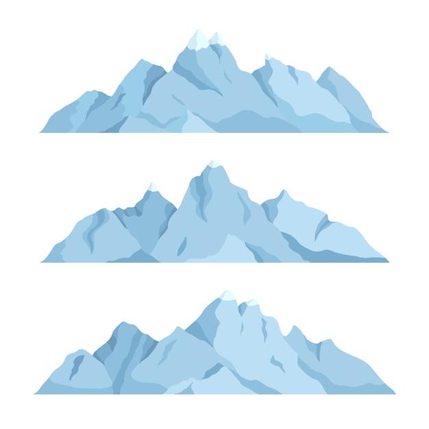 Ensemble Plat De Grande Montagne Vecteur Premium