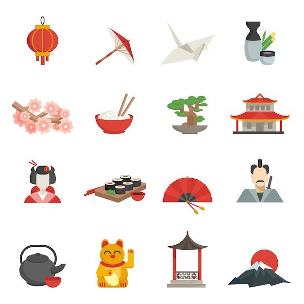 Ensemble plat d'icônes japonaises Vecteur gratuit
