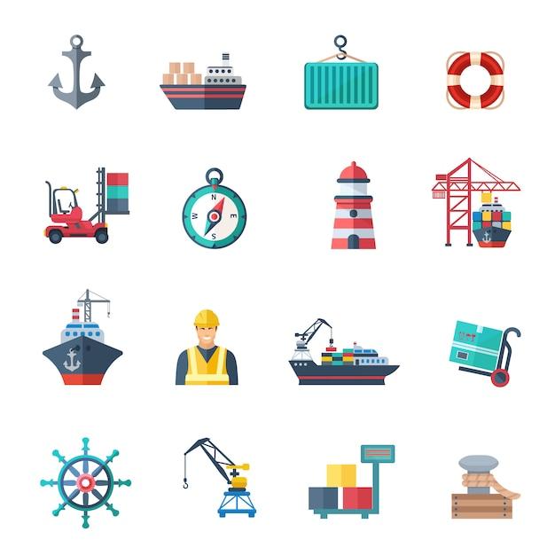 Ensemble plat d'icônes de port de mer Vecteur Premium
