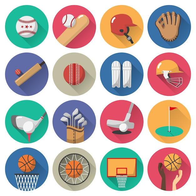 Ensemble plat d'icônes de sport Vecteur gratuit
