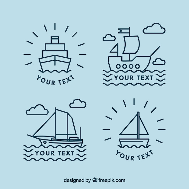Ensemble plat de quatre logos de bateaux linéaires Vecteur gratuit