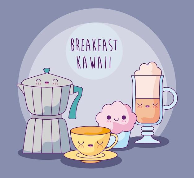 Ensemble de plats délicieux pour le style kawaii petit déjeuner Vecteur Premium